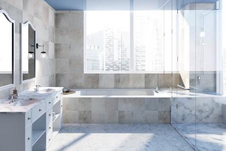 beautiful light colored granite bathroom remodel