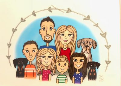 Drawing of Bob Olson and Family