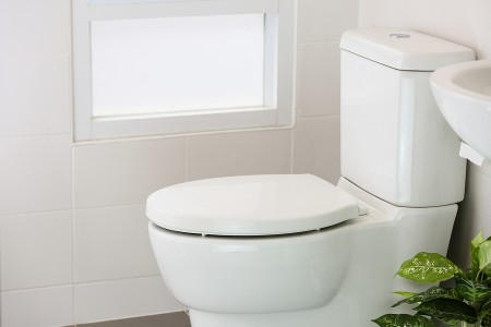 new toilet installation - white