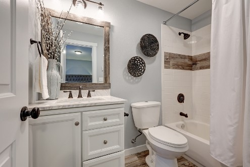 photo of small bathroom remodel, white and grey-blue