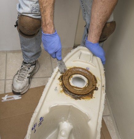 plumber removing wax seal from toilet that's been removed