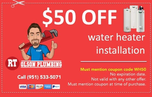 $50 coupon off water heater installation in Norco CA. Must mention coupon code WH50
