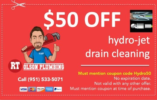 """$50 coupon off water hydro-jet drain cleaning in Norco CA. Must mention coupon code """"Hydro50"""""""