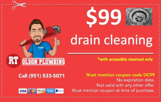 $99 drain cleaning coupon from RT Olson Plumbing. Must mention code DC99.