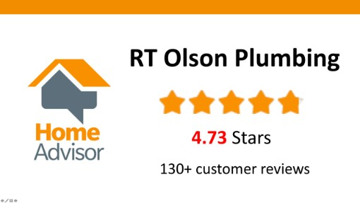 RT Olson Plumbing Over 130 Home Advisor Reviews - 4.73 stars