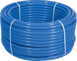 a 100 ft. coil of blue PEX pipe