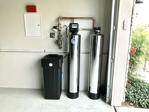 water softener and filtration system installed in garage - 510 geo