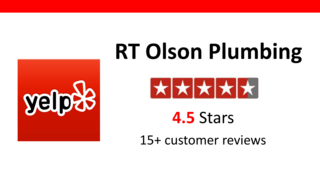 Yelp reviews banner for RT Olson Plumbing - 15 reviews 4.5 stars
