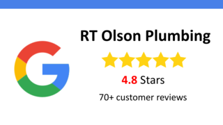 reviews badge RT Olson Plumbing 70 Google reviews