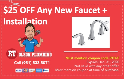 Coupon: $25 OFF any new kitchen faucet installation