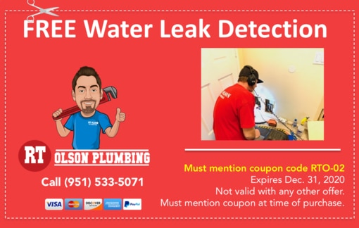 Coupon: FREE water leak detection by RT Olson Plumbing