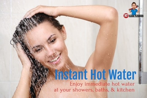 Instant hot water system - featured image - woman in shower