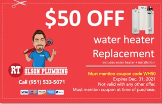 RT Olson Plumbing Coupon - 50 OFF off water heater installation