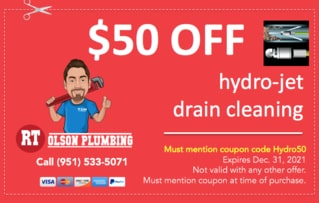 RT Olson Plumbing Coupon - $50 off hydro-jet drain cleaning