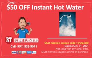 RT Olson Plumbing Coupon - $50 off instant hot water system and installation