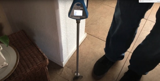 listening for slab leaks using ultrasonic detector