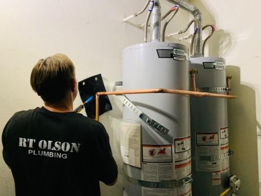 water heater installation by RT Olson Plumbing -